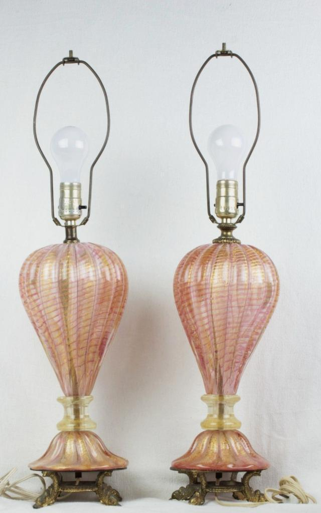 26u2033 Pair Venetian Murano Blown Glass Table Lamps Pink W/Gold Fleck Opaline  Italy