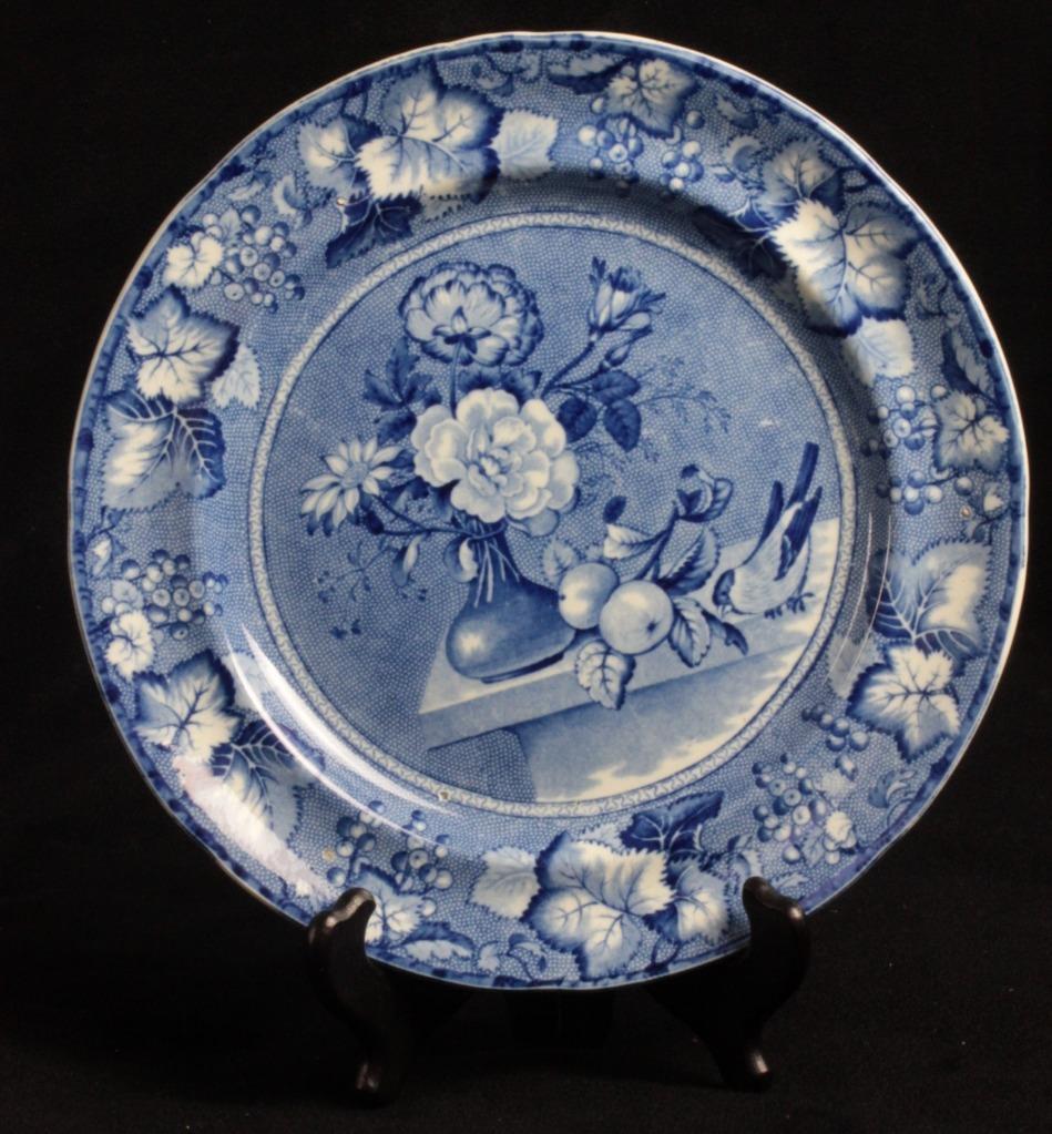 19th C. Staffordshire Clews Flow Blue Coronation Porcelain Dinner Plate & 19th C. Staffordshire Clews Flow Blue Coronation Porcelain Dinner ...