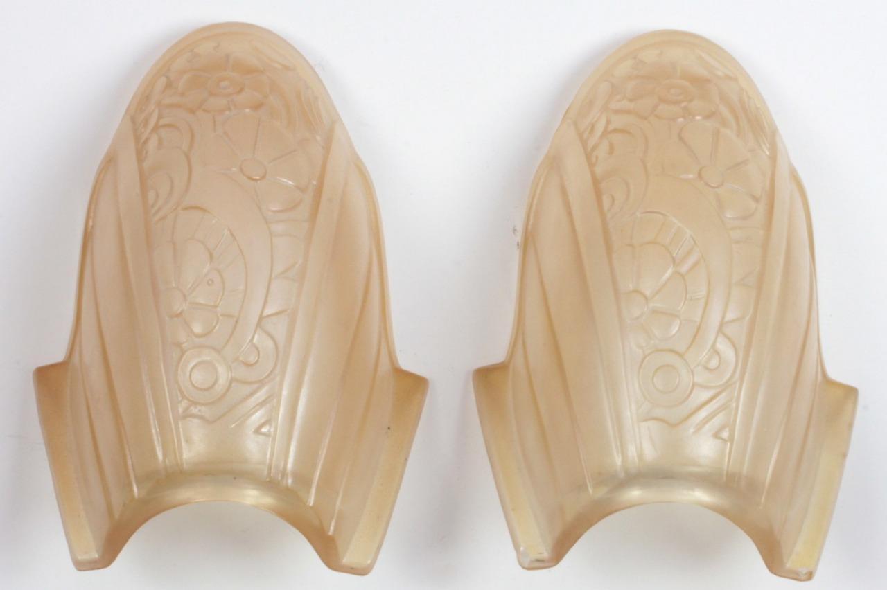 PAIR Antique 1930s Art Deco Lincoln #10560 Cast Aluminum Pink Slip Shade Sconces