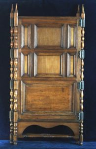 1800's / 19th Century Antique Raised 3-Panel Oak Half Screen w/ Wraparound Hinges