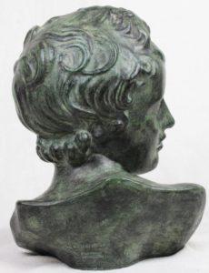 """AMPHORA 13"""" Classical Spanish Verdigris TerraCotta Ceramic Bust Spain"""