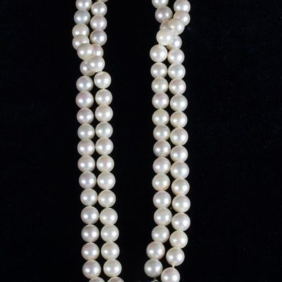 "16"" 14k 2-Strand Akoya Pearl Necklace 6mm w/Floral White Gold Clasp"