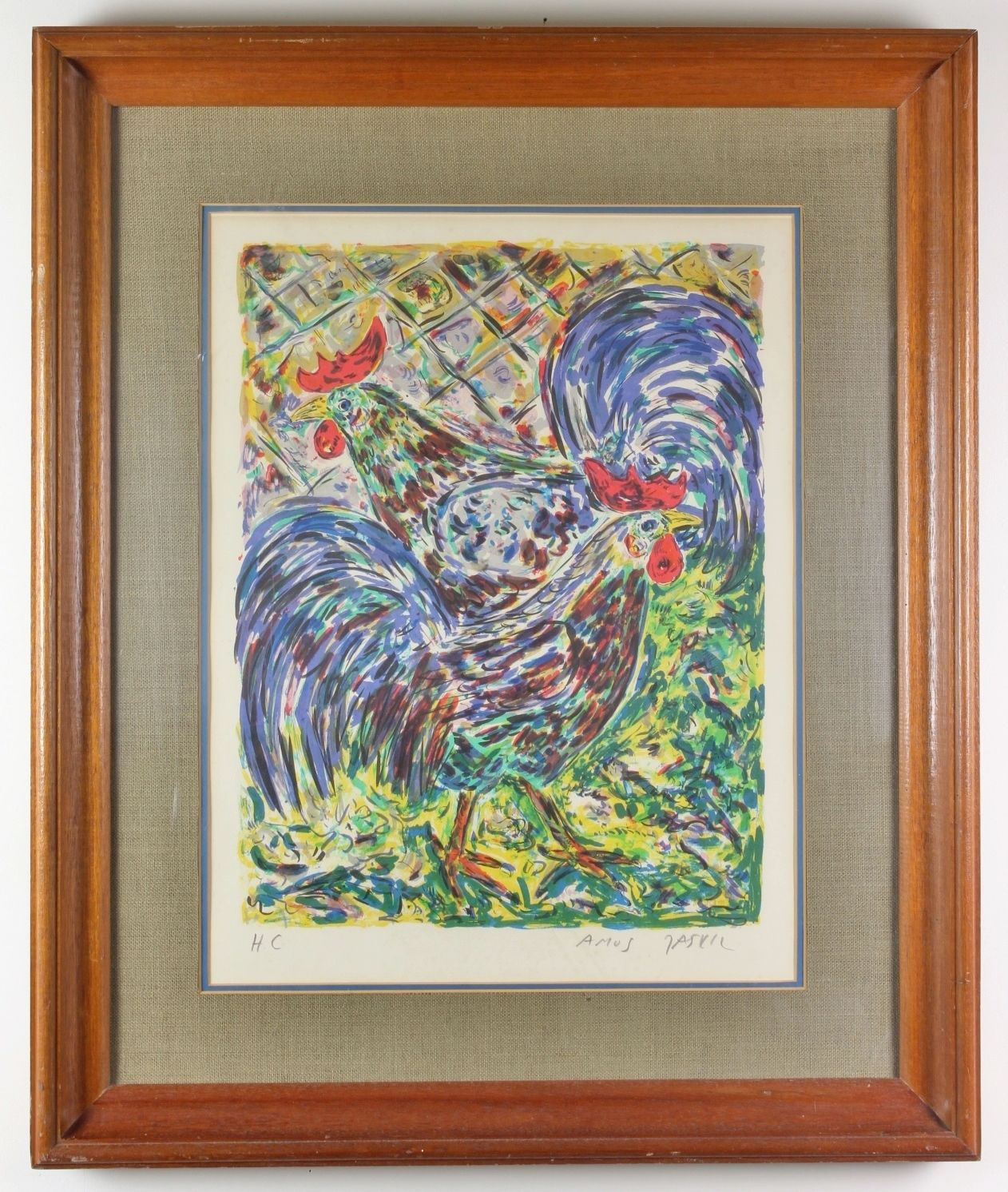 "Amos Yaskil ""Roosters"" Signed Lithograph 1975 HC Hors Commerce"