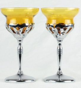 Art Deco Farberware Cambridge Morgantown Chrome Wine Cordial Cocktail Glass