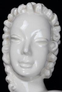 Art Deco Female Porcelain Bust Figurine w/Curls Wall Plaque
