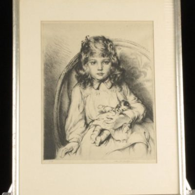 ARTHUR HEINTZELMAN Girl w/ Doll Signed & Numbered Original Framed Etching