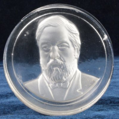 Benjamin Harrison Presidential New England or Gillander Glass Paperweight 1890s