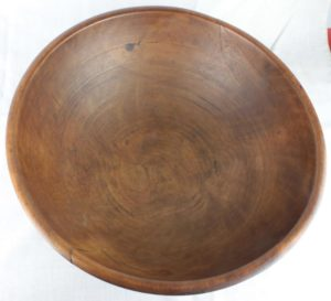 "19"" 1800s Primitive Black Ash Wood Dough Bowl New England Hand Turned Wooden"