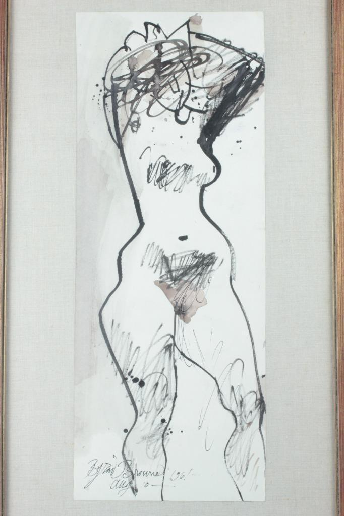 1961 Mid Century Byron Browne Nude Watercolor & Ink on Paper Painting