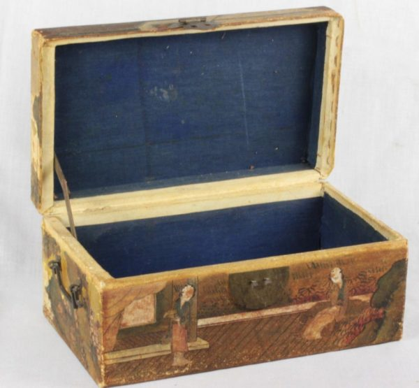 Antique Chinese Pigskin Covered Small Travel Trunk Chest Painted