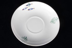 Cup & Saucer Arabia Finland Fish Pattern Porcelain Ceramic China Dishes