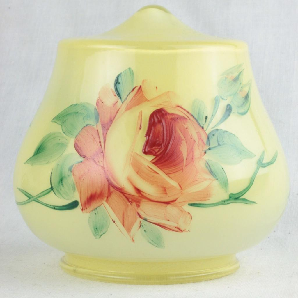 Czech Boudoir Lamp Reverse Hand Painted Yellow w/ Rose Vine Belova