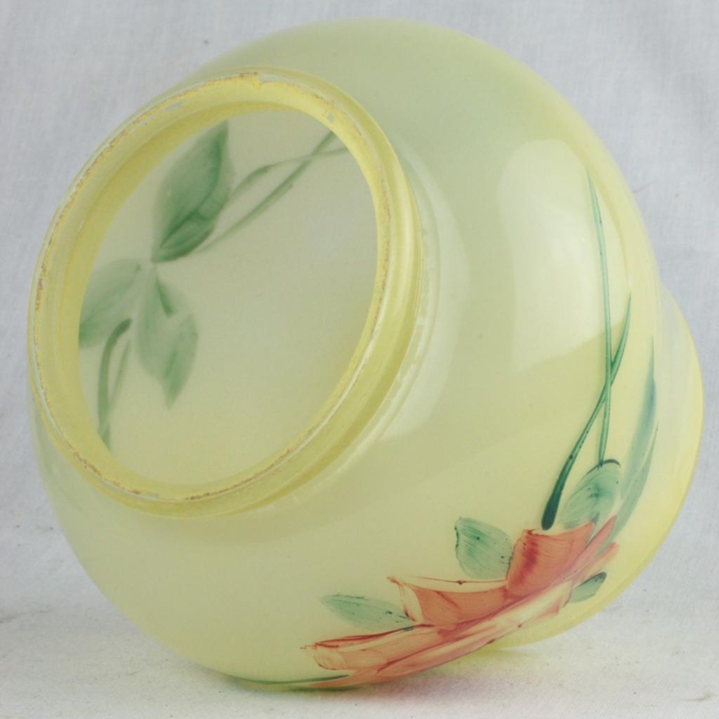 Czech Boudoir Lamp Reverse Hand Painted Yellow w/ Rose Vine Belova