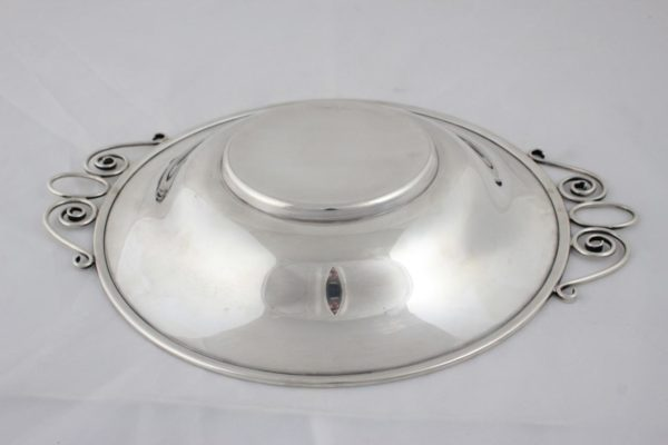 "Antique Deco SAART 9&1/4""Sterling Silver Vegetable Dish Scroll Handles"