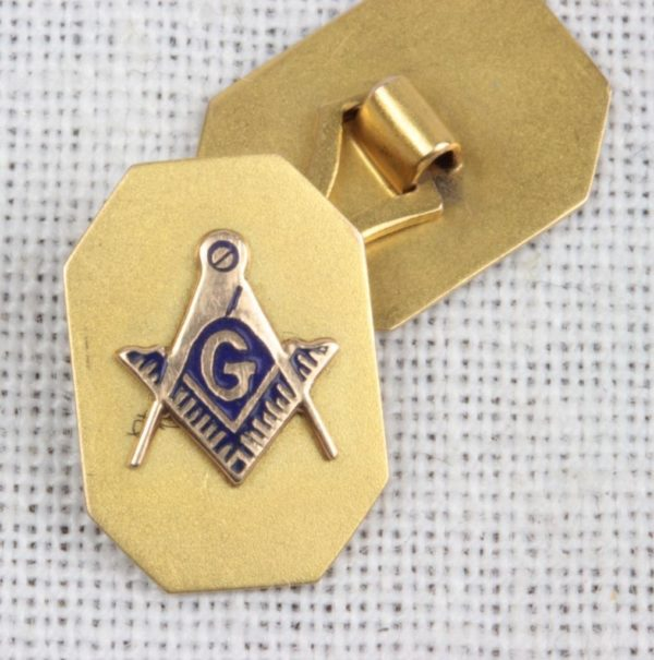 Edwardian 10K Gold Enamel Masonic Cufflinks
