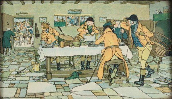 VARIANT CECIL ALDIN Fallowfield Hunt Breakfast At 3 Pigeons Print