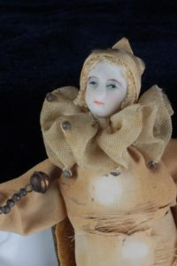 19th C. Rare French Bisque Harlequin Doll Porcelain Clown Jester
