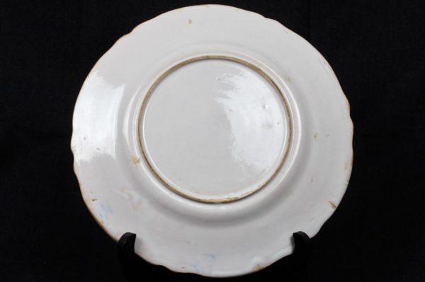 French Quimper Plate Glazed Scalloped Rim