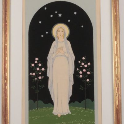 French Art Deco Pochoir Print Madonna of Rose Bower Giovanni Meschini