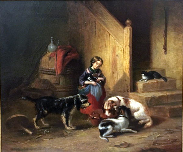 Girl wDogs & Cat European Genre Painting - Manner of Edwin Landseer c.1860