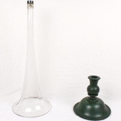 """40"""" Antique Blown Glass Trumpet Floor Vase Weighted Turned Wood Base"""