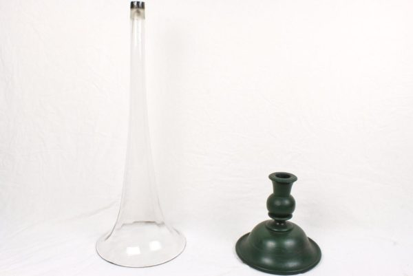"40"" Antique Blown Glass Trumpet Floor Vase Weighted Turned Wood Base"