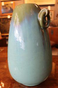 Fulper Vase Turquoise & Green Glaze w/ Double Ring Handles