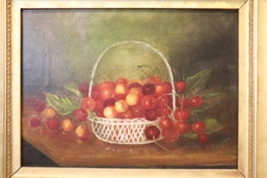 Cherries in a Basket Signed C. Ayer Fall River School