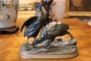Bronze Game Birds Signed J. Moigniez