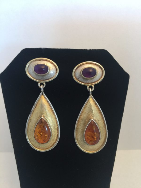 Amber + Amethyst Sterling Drop Earrings