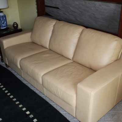 Beautiful Beige/Camel Leather Sofa Set
