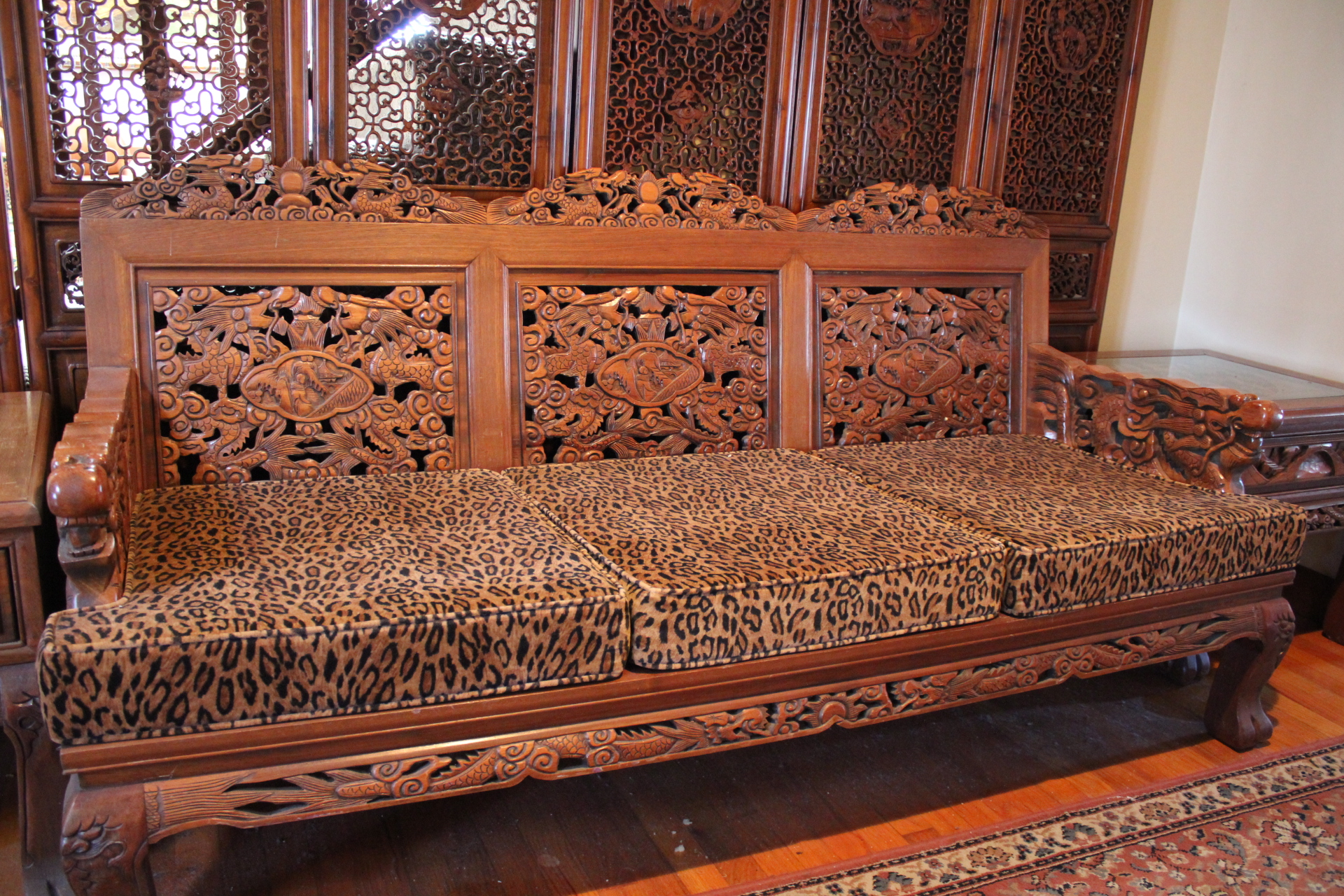 Elaborately Carved Asian Teak Living Room Set