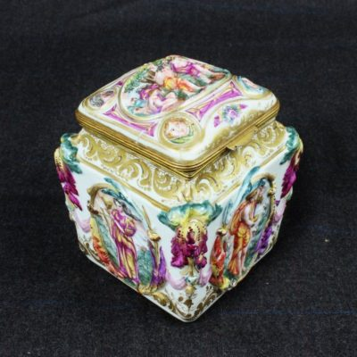 Signed Italian Capodimonte Dimensional Relief Covered Gilt Box