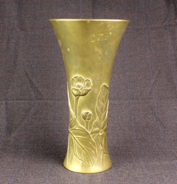 """Fine Japanese Meiji Bronze Floral Pond Water Lily Vase 11.5"""" Signed"""
