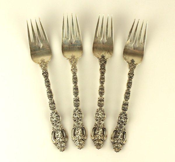 King Louis Pattern International Sterling Silver Salad Forks Set of 4