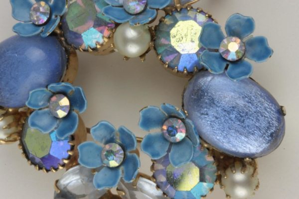 Signed Kramer Blue Moonstone Cabochon AB Pearls Enamel Flowers Brooch