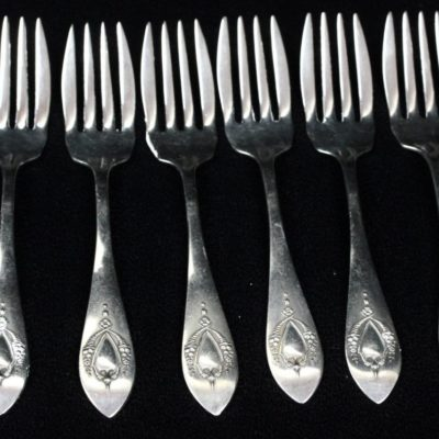 "LUNT R.L.B. Mt.Vernon Pattern Sterling Silver 6&1/8"" Salad Forks 6 Pieces"