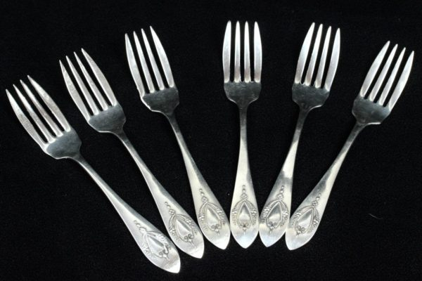 "LUNT R.L.B. Mt.Vernon Pattern Sterling Silver 6&1/8"" Salad Forks 6 Pieces"