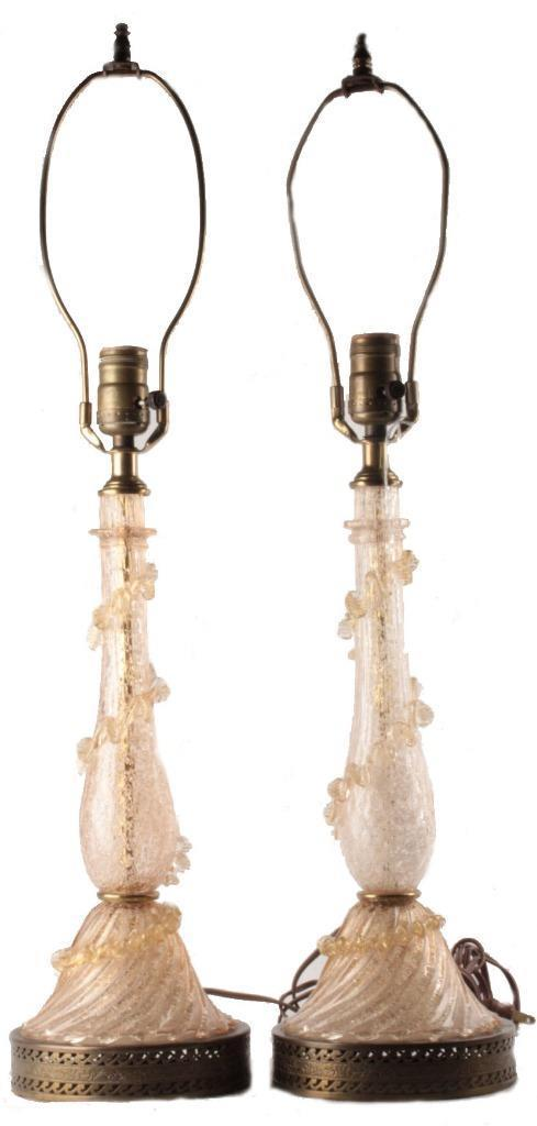 MCM Murano Italy Glass Table Lamps with Ruffle & Flecks Ice 1960s