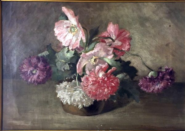 Nova Scotia Poppies Signed F.C. Mathewson 1897 Listed Rhode Island Artist