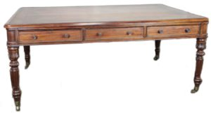 Partners Desk Leather Top Carved Mahogany