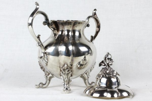 Reed & Barton 1795 Winthrop PUMPKIN Silverplate 5pc Footed Coffee / Tea Set