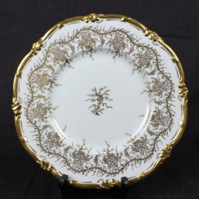 "10"" Royal Cauldon King's Dinner Plate White Gilt Bone China"