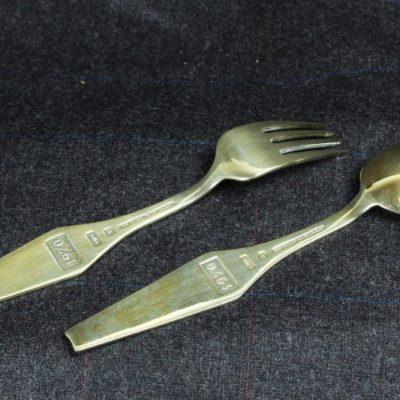Sorenco Denmark Sterling 1970 WSC Blue Enamel Snowflake Fork Spoon Set