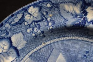 19th C. Staffordshire Clews Flow Blue Coronation Porcelain Dinner Plate