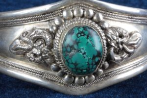 Vintage Sterling Silver + Turquoise Medieval Dragon Cuff Bracelet