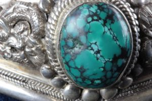 Vintage Sterling Silver + Turquoise Medieval Dragon Cuff Bracelet