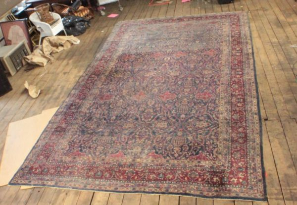 Antique 20'x12' Persian Hand Knotted Palace Tabriz Burgandy Navy Area Rug Carpet
