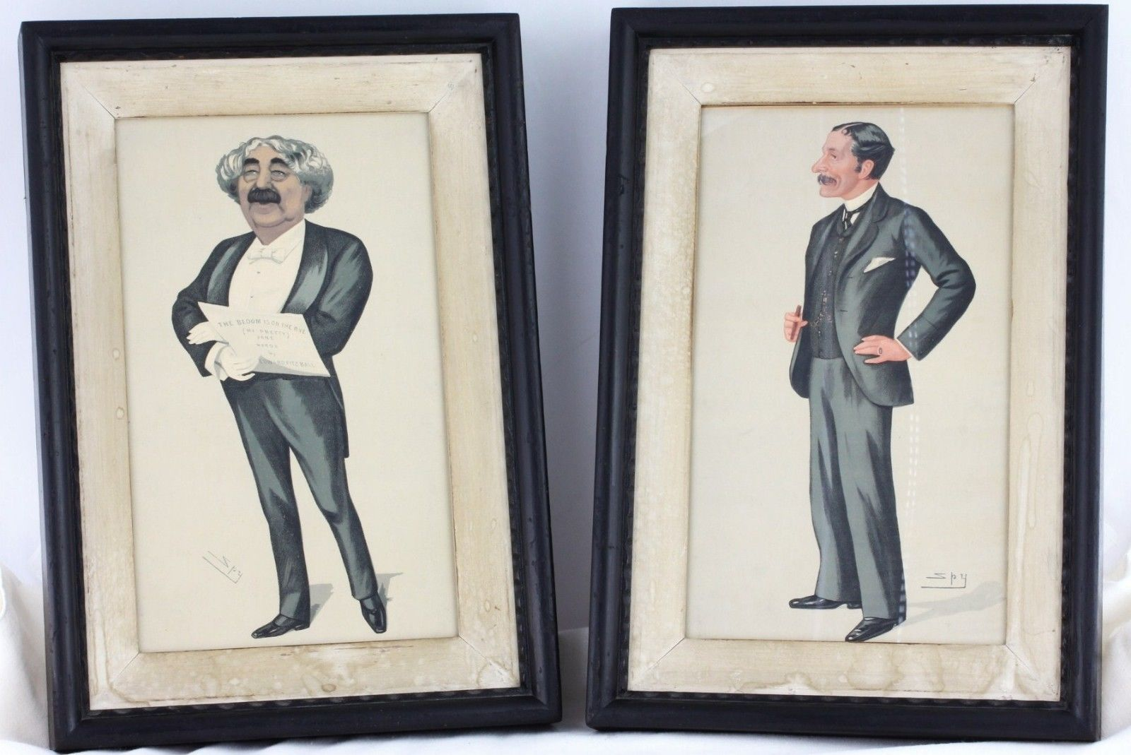 """1890 Vanity Fair SPY Lithograph Caricature Prints Framed """"Men of the Day"""""""
