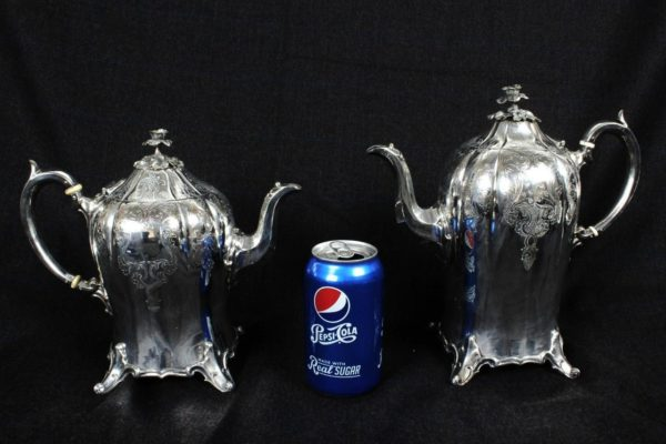 Victorian James Dixon English Silver Plate Footed 4pc Tea/Coffee Set